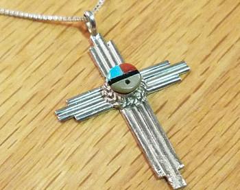 """Silver & Zia Sun Face Cross Necklace 20"""" -Zuni"""