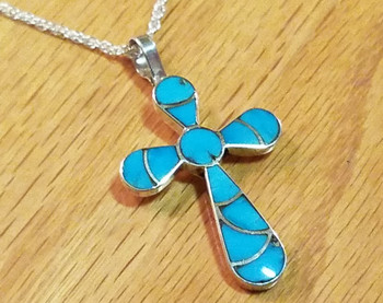 """Sterling Silver Inlaid Turquoise Cross Necklace 20"""" -Zuni"""