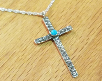 """Sterling Silver & Turquoise  Cross Necklace 20"""" -Zuni"""