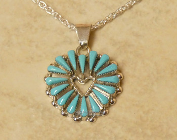"""Native American Turquoise Heart Necklace 20"""""""