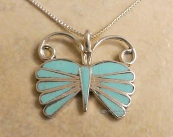 "Native American Zuni Butterfly Necklace 20"""