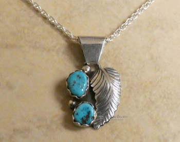 "Native American Zuni Turquoise Pendant Necklace 20"""
