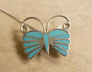 """Native American Zuni Turquoise Pin/Pendant Necklace 20"""""""