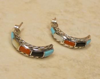Native American Zuni Multi Stone Earrings