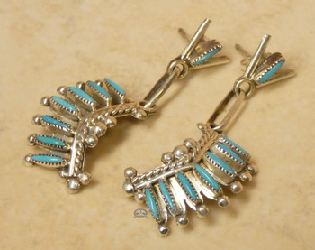 Native American Zuni Needlepoint Earrings