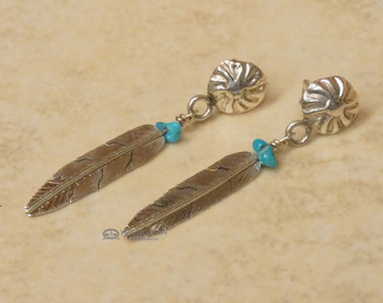Native American Zuni Sterling Silver & Turquoise Earrings