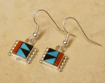 Native American Zuni Turquoise and Coral Earrings