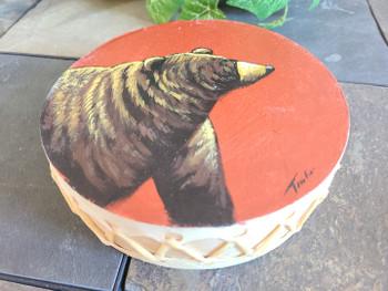 Hand Painted Tarahumaran Drum - Brown Bear