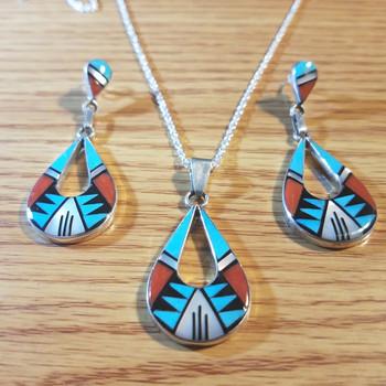 "Silver Inlay Pendant & Earring Set Necklace 20"" -Zuni (113pen67)"