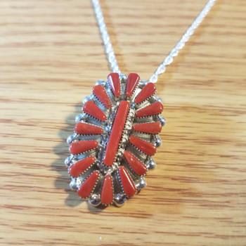 "Sterling Silver Native American Zuni Pendant Necklace 20"""