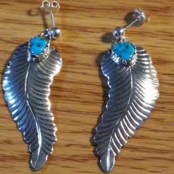 Native American Silver & Turquoise Earrings -Zuni