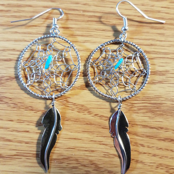 Native American Silver Earrings -Dreamcatchers