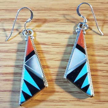 Native American Turquoise Inlay Earrings -Zuni