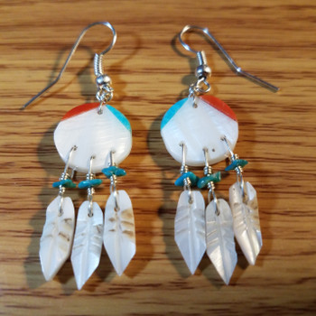 Native American Earrings -Zuni Feather