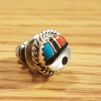 Native American Zuni Sterling Silver Pin -Sun Face
