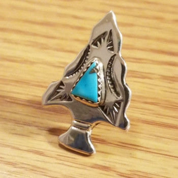 Native American Sterling Silver Lapel Pin -Arrowhead