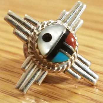 Native American Sterling Silver Lapel Pin -Zia Sun Face