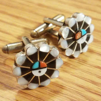 Native American Sterling Silver Cuff Links -Sun Face