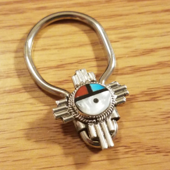 Native American Sterling Silver Key Fob -Sun Face