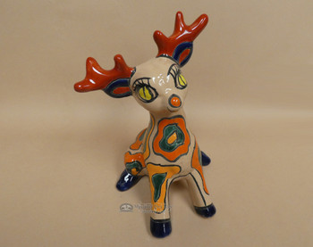 Hand Painted Talavera Christmas Reindeer - Sitting