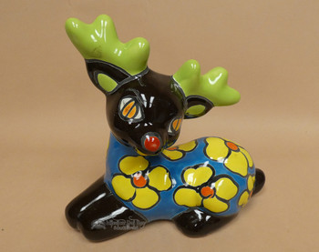 Hand Painted Talavera Reindeer - Lying