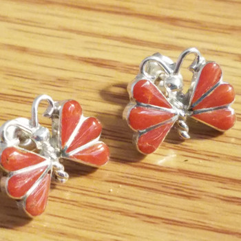 Navajo Silver & Red Coral Earrings -Butterfly