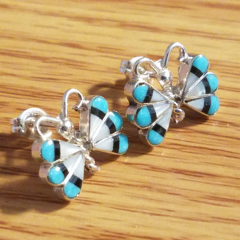 Navajo Sterling silver and turquoise inlay earrings