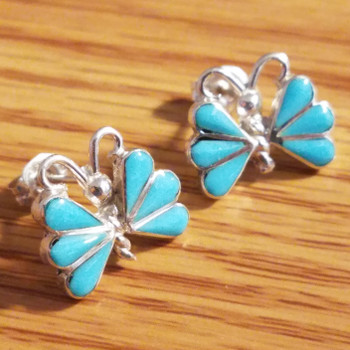 Navajo Silver & Turquoise Earrings -Butterfly