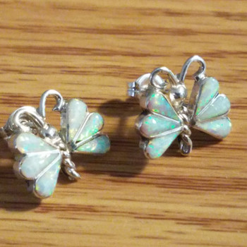 Navajo Silver & Opal Earrings -Butterfly