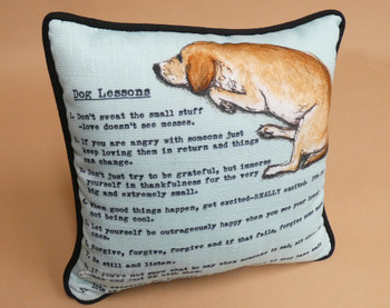 "Dog Lessons Pillow 10""x10"""