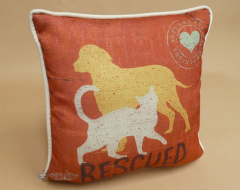 "Rescued Dog & Cat Pillow 10""x10"""