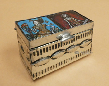 Handcrafted Day of the Dead Tin Jewelry Box