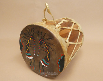 Native American Tarahumara Indian Painted Drum - Twin Kokopelli