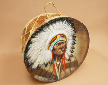 Native American Tarahumara Indian Painted Drum - Chief