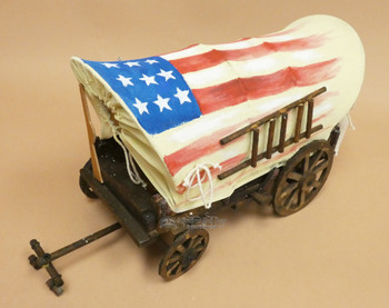 Handpainted Covered Wagon - American Flag