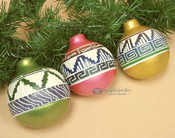 Navajo Indian Etched Pottery Christmas Ornaments-3 Piece