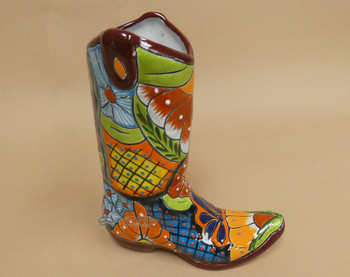Rustic Hand Painted Talavera Boot