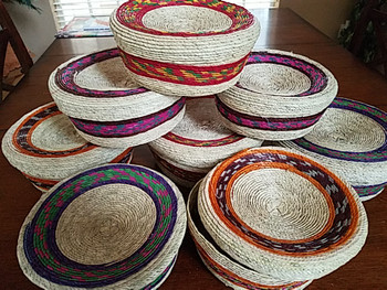 Colorful Woven Palm Basket Tortilla Warmers