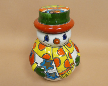 Hand Painted Talavera Snowman Luminary