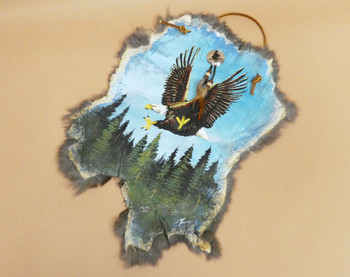 Rustic Painted Rabbit Hide - Soaring Eagle