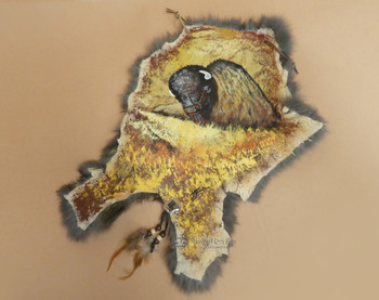 Rustic Painted Rabbit Hide - Grazing Buffalo