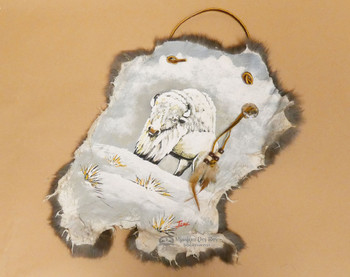 Rustic Hand Painted Rabbit Hide - Arctic Buffalo  (87phide135)