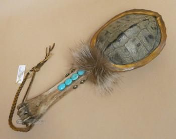 Native American Navajo Turtle & Turquoise Rattle