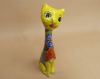 Hand Painted Talavera Cat - Yellow