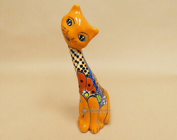 Hand Painted Mexican Talavera Cat