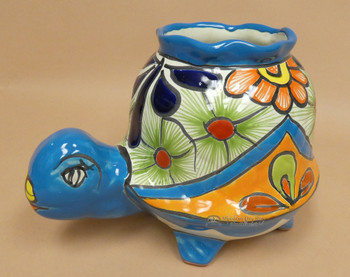Hand Painted Mexican Talavera Turtle Planter