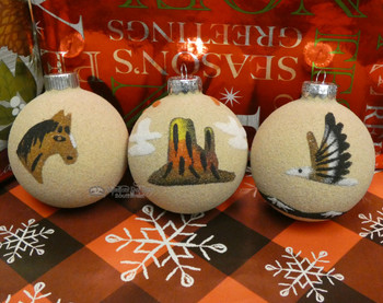 Sand Painted Ornaments -3 Piece Set
