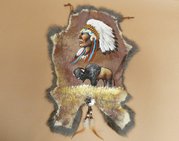 Hand Painted Rustic Rabbit Hide - Chief