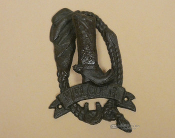 Cast Iron Boot Door Knocker Welcome