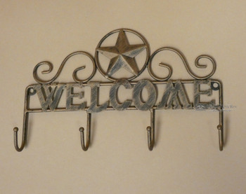 Tin Art Welcome Sign Key Holder